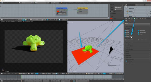 Screen pokazujący jak wyrenderować cień obiektu bez powierzchni na którą pada.