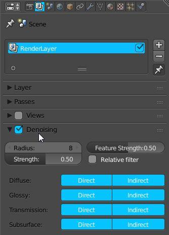 Panel włączający odszumianie obrazu w programie Blender 2.79.