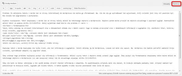 Screen pokazujący tekstowy edytor WordPressa.