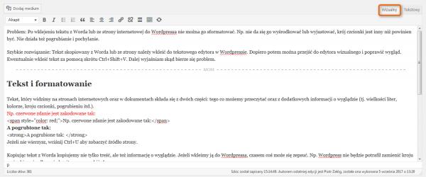 Screen wizualnego edytora teksu w WordPressie.