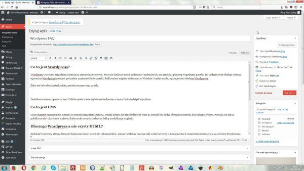Panel WordPressa służący do dodawania i edytowania wpisów.