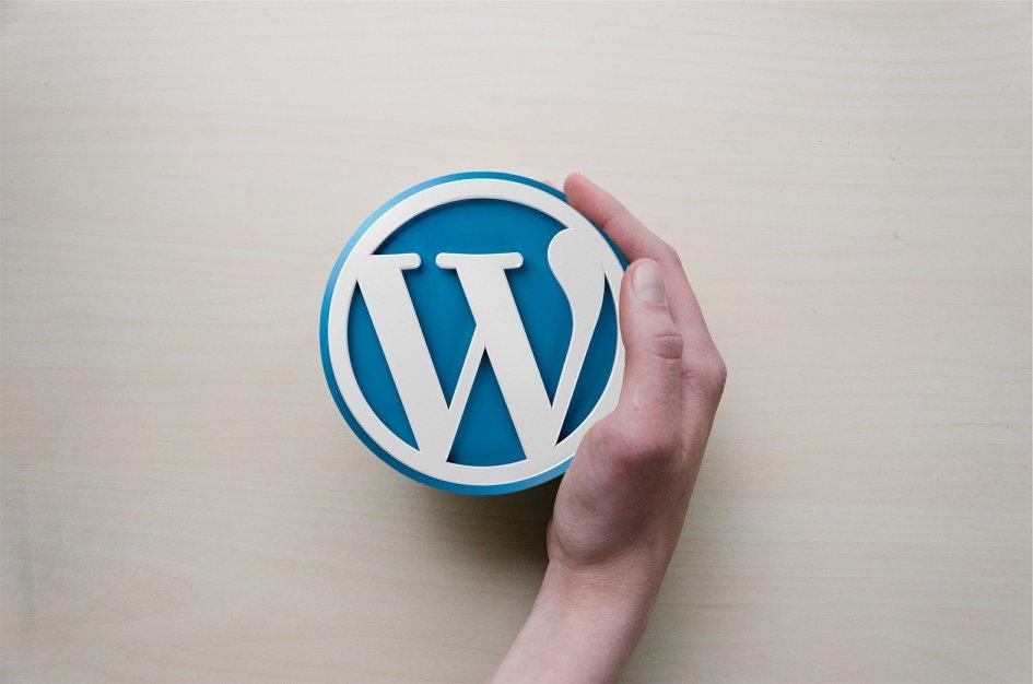 Dłoń trzymająca logo Wordpressa.