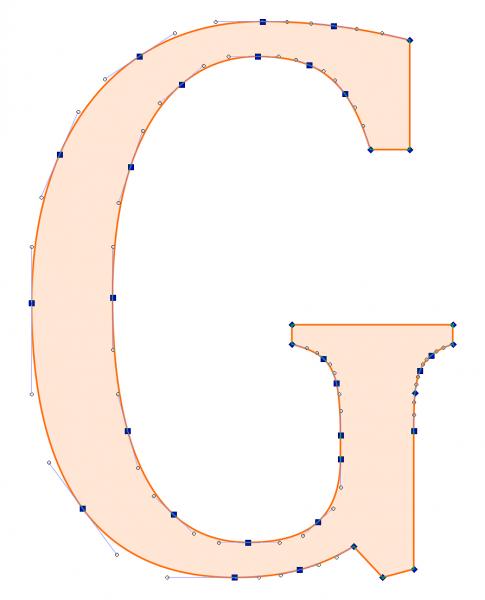 Litera G przekształcona na krzywe.