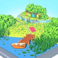 Widok 3D na jezioro i brzeg, zrobione w programie Blender.