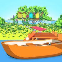Grafika 3D low-poly prezentująca jezioro i łódkę