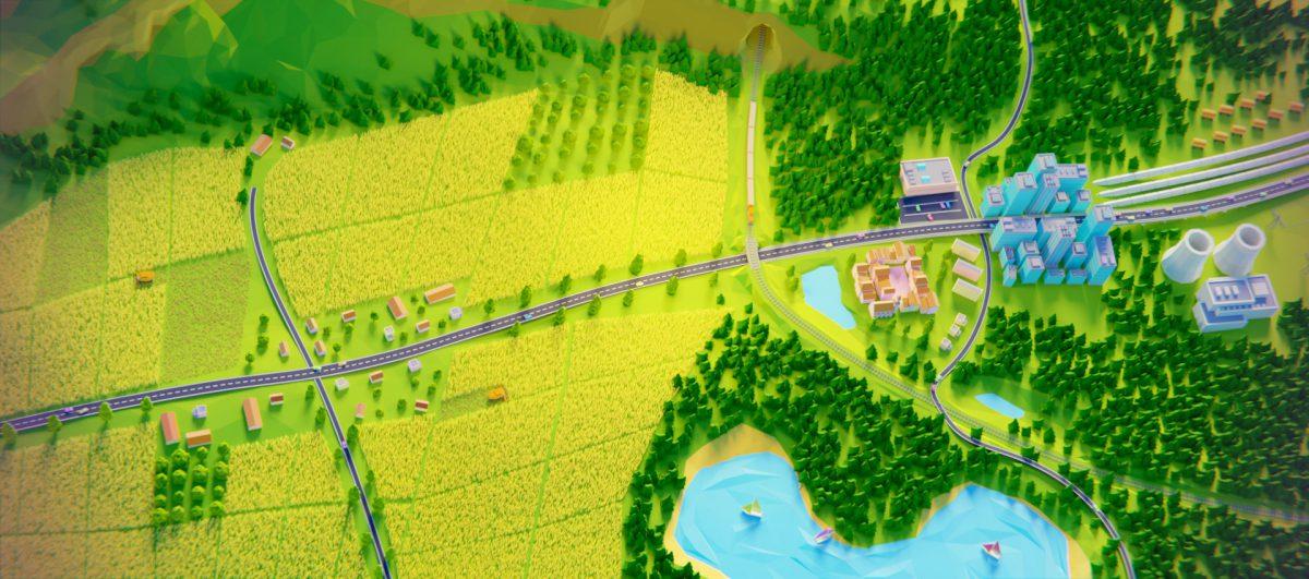 Grafika 3d przedstawiająca pole i miasto.