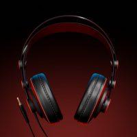 Realistyczny moderl 3D słuchawek, widok od przodu.