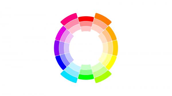 Sposób dobierania barw na kole kolorów
