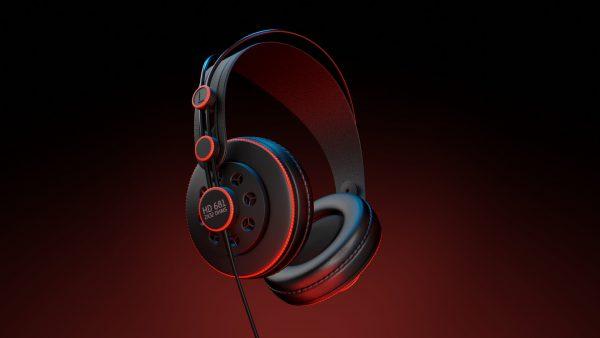Realistyczny moderl 3D słuchawek, widok z boku