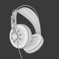 Słuchawki, model 3D, siatka/wireframe