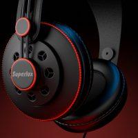Realistyczny moderl 3D słuchawek, widok z bliska