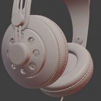 Słuchawki, model 3D, matcap