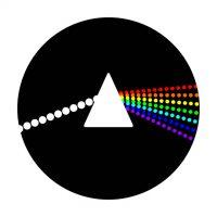 Pryzmat do którego wchodzi promień białego światła, a wychodzą z niego promienie kolorów tęczy.