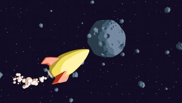 Rakieta na tle asteroidy.