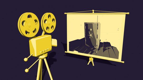 Projektor na taśmę filmową.