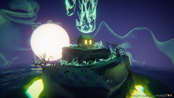 Grafika przedstawiająca tajemniczą wyspę na tle księżyca. Wykonana w programie Blender 3D.