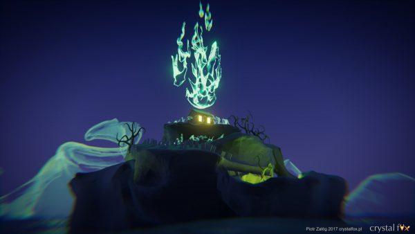 Wyspa cmentarna - widok na zorzę.