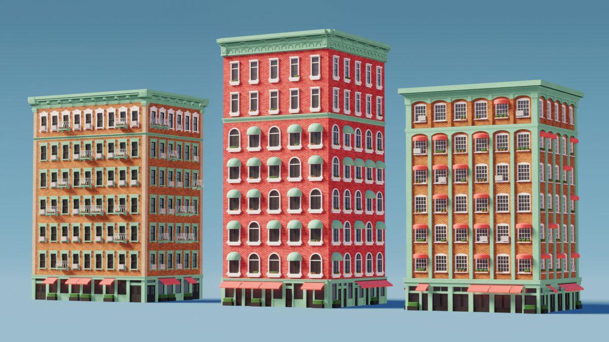 Budynki stworzone w programie Blender za pomocą Geometry Nodes.